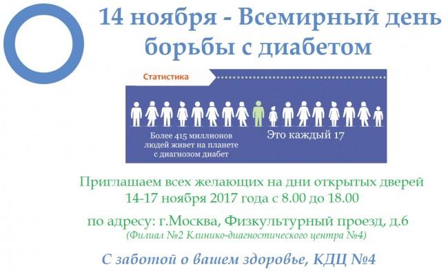 14 ноября в Филиале №2 Клинико-диагностического центра №4 пройдёт День открытых дверей