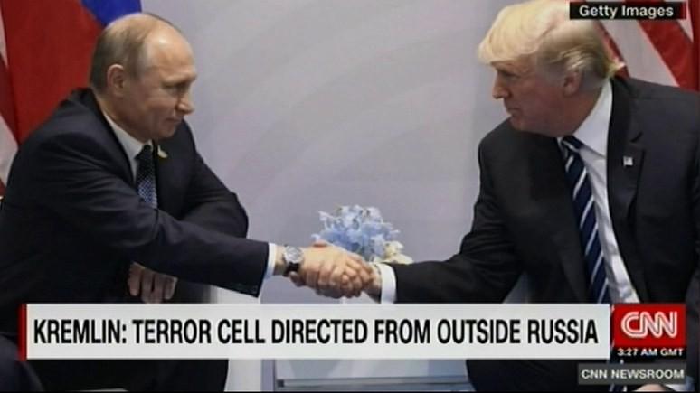 CNN: Путин поблагодарил Трампа за помощь в предотвращении теракта в Петербурге